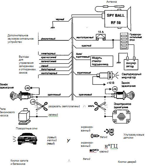 рис. 1.66. схема подключения сигнализации spy ball rf59.
