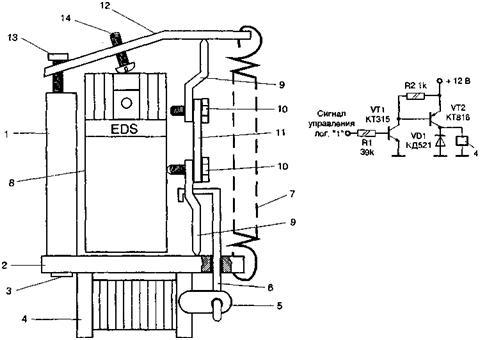 рис. 4.76. конструкция крепления баллончика со слезоточивым газом и схема электронного транзисторного ключа.